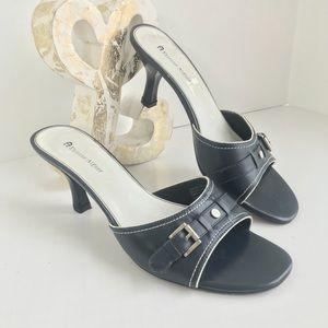 Etienne Aigner Slip on Heel Sandals navy & silver